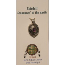 Sterling Silver locket with amethyst